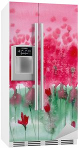 Fridge Sticker Watercolor painting. Background meadow with red flowers.