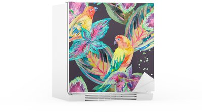 Watercolor Parrots .Tropical flower and leaves. Fridge Sticker