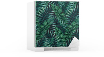 Watercolor tropical palm leaves seamless pattern. Vector illustration. Fridge Sticker
