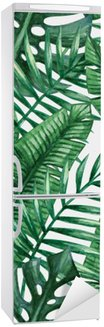 Fridge Sticker Watercolor tropical palm leaves seamless pattern. Vector illustration.