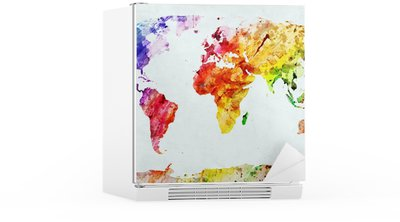 Watercolor world map Fridge Sticker