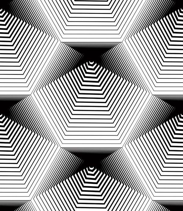 Fototapeta Vinylowa Geometryczny wzór bez szwu monochromatyczny stripy, czarne i białe ve - Zasoby graficzne