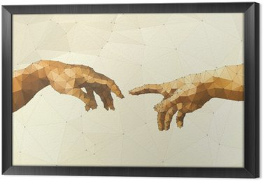 Gerahmtes Leinwandbild Abstrakt Gottes Hand Vektor-Illustration
