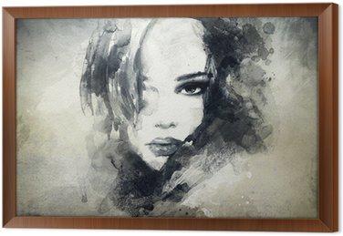 Gerahmtes Leinwandbild Abstrakt woman portrait