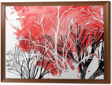 Gerahmtes Leinwandbild Abstrakte Silhouette von Bäumen
