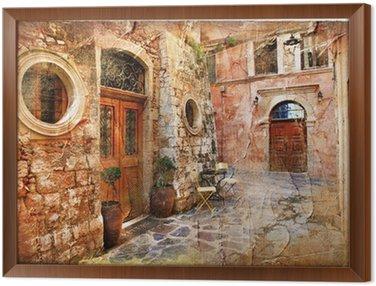 Gerahmtes Leinwandbild Alten Straßen von Griechenland - künstlerische retro piture