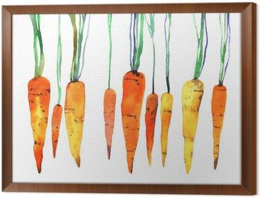 Gerahmtes Leinwandbild Aquarell von Hand bemalt Karotte