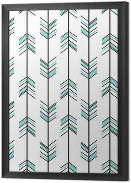 Gerahmtes Leinwandbild Arrow nahtlose Vektor-Muster Hintergrund Hippie-Illustration