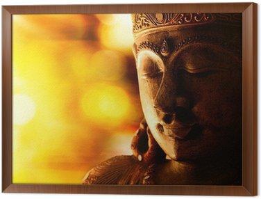 Gerahmtes Leinwandbild Bronze Buddha-Statue