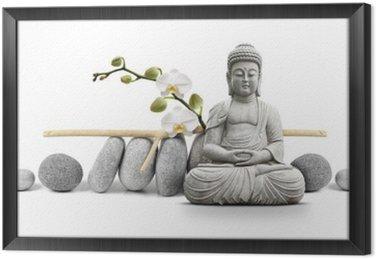 Gerahmtes Leinwandbild Buddha und Soziales