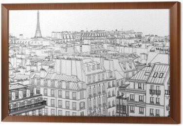 Gerahmtes Leinwandbild Dächer in Paris