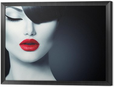 Gerahmtes Leinwandbild Fashion Glamour Schönheit Mädchen mit trendigen Frisur Fringe