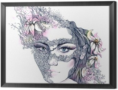 Gerahmtes Leinwandbild Floral dekorierte Gesicht