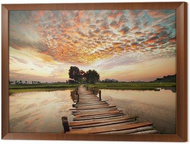 Gerahmtes Leinwandbild Fluss bei Sonnenuntergang