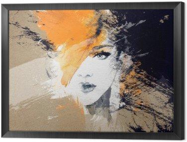 Gerahmtes Leinwandbild Frau Porträt. abstraktes Aquarell. Mode Hintergrund