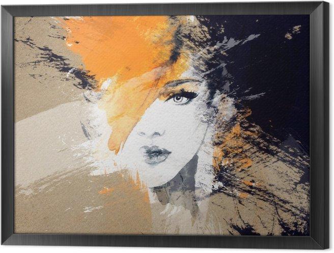 Gerahmtes Leinwandbild Frau Porträt. abstraktes Aquarell. Mode Hintergrund - Menschen