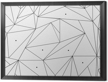 Gerahmtes Leinwandbild Geometrische einfache Schwarz-Weiß minimalistische Muster, Dreiecke oder Buntglasfenster. Kann als Hintergrund, Hintergrund oder Textur verwendet werden.