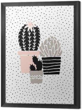 Gerahmtes Leinwandbild Hand gezeichnet Kaktus Plakat