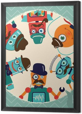 Gerahmtes Leinwandbild Hipster Retro Roboter-Karte Illustration, Banner, Hintergrund