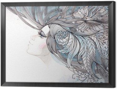 Gerahmtes Leinwandbild Ihr Haar kunstvoll mit Laub