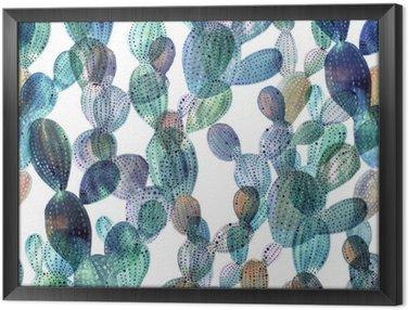 Gerahmtes Leinwandbild Kaktus Muster in Aquarell-Stil