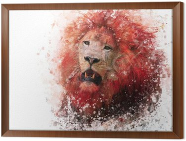 Gerahmtes Leinwandbild Lion Head Aquarell