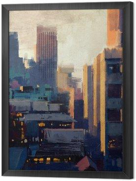Gerahmtes Leinwandbild Malerei von Wolkenkratzern bei Sonnenuntergang