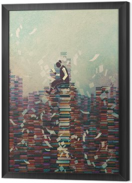 Gerahmtes Leinwandbild Mann Buch zu lesen, während auf Stapel der Bücher sitzt, Wissen Konzept, Illustration,