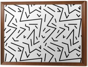 Gerahmtes Leinwandbild Nahtlose geometrische Vintage-Muster im Retro-Stil der 80er Jahre, memphis. Ideal für Stoffdesign, Papierdruck und Website-Kulisse. EPS10-Vektor-Datei