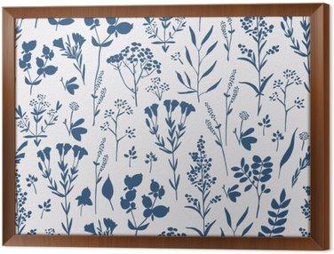 Gerahmtes Leinwandbild Nahtlose Hand gezeichnet Blumenmuster mit Kräutern