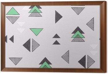 Gerahmtes Leinwandbild Nahtlose Hand gezeichnete Dreiecke Muster.