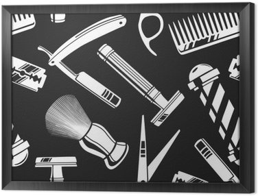 Gerahmtes Leinwandbild Nahtlose Muster Hintergrund mit Vintage-Friseurladen Tools