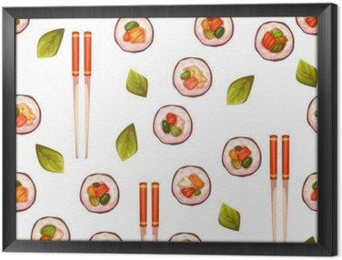 Gerahmtes Leinwandbild Nahtlose Muster mit Sushi. Vektor-Hintergrund