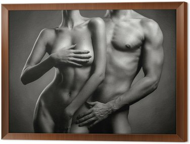 Gerahmtes Leinwandbild Nude sinnliche Paar
