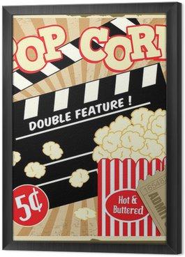 Gerahmtes Leinwandbild Popcorn mit Klöppel Bord und Kinokarten vintage poster