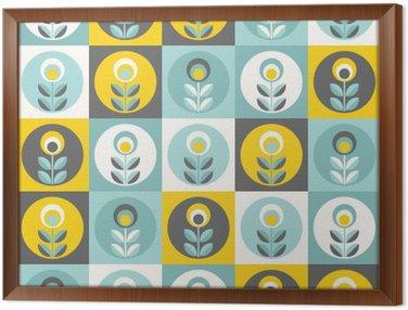 Gerahmtes Leinwandbild Retro Blumenmuster, nahtlose Blumen geometrischen