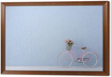 Gerahmtes Leinwandbild Retro-Vintage-Fahrrad alt und blauen Wand. 3D-Rendering