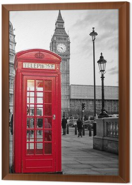 Gerahmtes Leinwandbild Rote Telefonzelle in London mit dem Big Ben in schwarz und weiß
