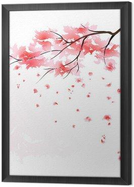 Gerahmtes Leinwandbild Sakura Aquarell