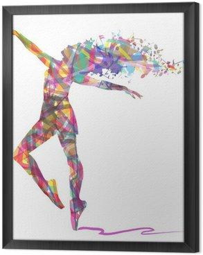 Gerahmtes Leinwandbild Schattenbild von Ballerina von Farben zusammengesetzt