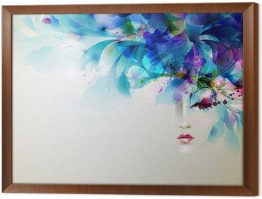 Gerahmtes Leinwandbild Schöne abstrakte Frauen mit abstrakten Design-Elemente