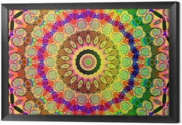Gerahmtes Leinwandbild Schönen farbigen Mandala