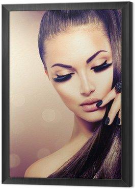 Gerahmtes Leinwandbild Schönheit Mode Modell Mädchen mit langen gesundes Braun Haar