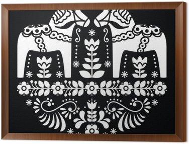 Gerahmtes Leinwandbild Schwede Dala oder Daleclarian Pferd Blumenvolksmuster auf schwarzem