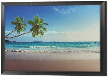 Gerahmtes Leinwandbild Sonnenuntergang am Strand der Seychellen