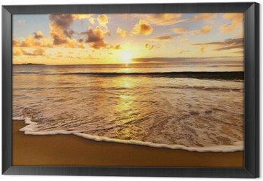 Gerahmtes Leinwandbild Sonnenuntergang am Strand
