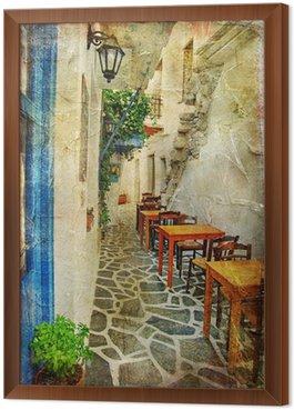 Gerahmtes Leinwandbild Traditionelle griechische Tavernen-künstlerisches Bild