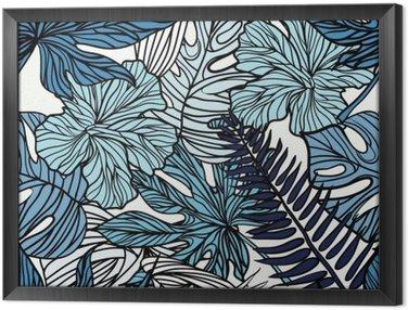 Gerahmtes Leinwandbild Tropical exotischen Blumen und Pflanzen mit grünen Blättern der Palme.