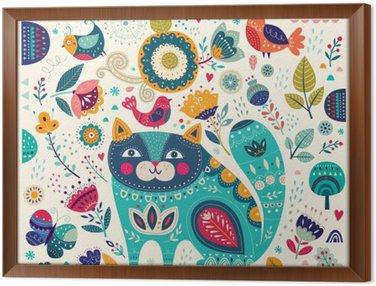 Gerahmtes Leinwandbild Vector bunte Abbildung mit schönen Katze, Schmetterlinge, Vögel und Blumen