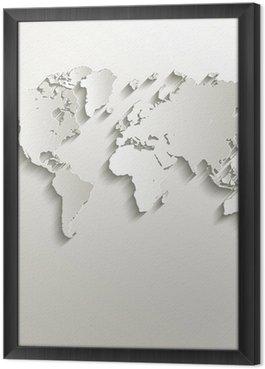 Gerahmtes Leinwandbild Vektor-Weltkarte Karte Papier 3D Natur